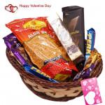 Sweet N Spicy Love - Haldiram Namkeen, Ferrero Rocher 4 Pcs, 2 Perk, 1 Bournville, 1 Twix, 1 Bounty, 1 Cadbury Dairy Milk Crackle, 1 5 Star, 2 Cadbury Dairy Milk Silk & Valentine Greeting Card