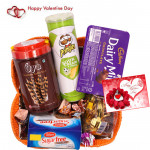 Sweet Gift Of Love - Sugarfree Cookies, Oya Chocolate Wafer Stick, Pringles Wafers, Dairy Milk Chocolates Pack, Swiss Gold Coin Box, H&made Chocolates, Truffles Toffee & Valentine Greeting Card