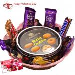 Royal Love Basket - Danish Butter Cookies, 1 5 Star, 1 Mars, 1 Twix, 1 Cadbury Dairy Milk Crackle, 3 Cadbury Dairy Milk Silk, 1 Snickers & Valentine Greeting Card