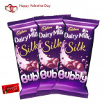 Triple Bubble - 3 Dairy Milk Silk Bubbly & Valentine Greeting Card