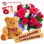 Toblerone Love - Bunch Of 10 Red Roses, Teddy Bear 6 Inches, 2 Toblerone 50 Gms Each & Valentine Greeting Card