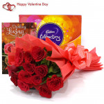 Celebration Bunch - Bunch Of 10 Red Roses, Cadbury's Celebration & Valentine Greeting Card