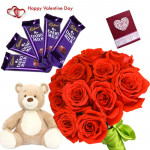 Red Teddy Choco - Bunch Of 12 Red Roses, Teddy Bear  6 Inches, 5 Cadbury Dairy Milk Chocolate Bars 14 Gms Each & Valentine Greeting Card