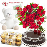 Red Bunch N Teddy - Bunch Of 30 Red Roses , Teddy Bear 6 Inches, Ferrero Rocher 16 Pcs, 1/2 Kg Chocolate Cake & Valentine Greeting Card