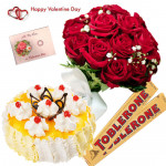 Red Toblerone Cake - Bunch Of 10 Red Roses, 2 Toblerone 50 Gms Each, 1/2 Kg Pineapple Cake & Valentine Greeting Card
