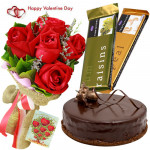 Rose Temptation Cake - Bunch Of 6 Red Roses, 2 Cadbury Temptation , 1/2 Kg Chocolate Cake & Valentine Greeting Card