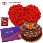 Hearty Choco Celebration - Heart Shape Arrangement Of 50 Red Roses, 1/2 Kg Chocolate Cake, Cadbury's Celebration 118 Gms & Valentine Greeting Card