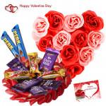 Pink N White Assortment - Heart Shape Basket Of 35 Pink & White Roses, 10 Assorted Cadbury Bars & Valentine Greeting Card