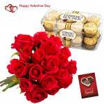 Golden Rose Bunch - Bunch Of 25 Red Roses , Ferrero Rocher 16 Pcs & Valentine Greeting Card