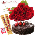 Red Cake Toblerone - Bunch Of 12 Red Roses, 1/2 Kg Chocolate Cake, 2 Toblerone 50 Gms Each & Valentine Greeting Card