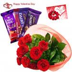 Red Rose Chocos - Bunch Of 12 Red Roses, Cadbury Silk, Fruit N Nut, Dairy Milk & Card