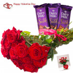 Red Rose Silk - Bunch Of 15 Red Roses, 3 Cadbury Dairy Milk Silk 69 Gms Each & Valentine Greeting Card
