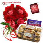 Red N Pink Ferrero - 12 Red & Pink Roses Bunch, Ferrero Rocher 16 Pcs, Cadbury Fruit N Nut 34 Gms & Valentine Greeting Card