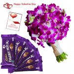 Purple Duo - 12 Purple Orchids Bunch, 5 Dairy Milk 14 Gms Each & Valentine Greeting Card