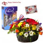 Mix Celebration Basket - 24 Mix Flowers Basket, Small Cadbury Celebration & Valentine Greeting Card