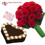 Red Heart - Bunch Of 15 Red Roses, 1 Kg Chocolate Cake Heart Shape & Valentine Greeting Card