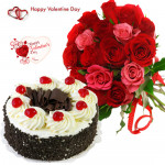 Red N Pink Combo - Bunch Of 12 Red & Pink Roses, 1/2 Kg Black Forest Cake & Valentine Greeting Card