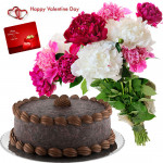 Carnation Cake - Bunch Of 12 Mix Carnations, 1/2 Kg Chocolate Cake & Valentine Greeting Card