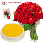 Red Pina Treat - Bunch Of 24 Red Roses, 1/2 Kg Pineapple Cake & Valentine Greeting Card
