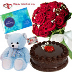 All You Need - Bunch Of 12 Red Roses, 1/2 Kg Chocolate Cake, Cadbury Celebration, Teddy Bear 12 Inch & Valentine Greeting Card