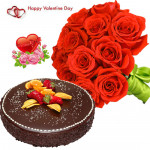 Rose Choco Cake - Bunch Of 10 Red Roses, 1/2 Kg Chocolate Cake & Valentine Greeting Card