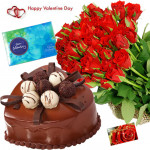 Hundred Heart Celebration - Bunch Of 100 Red Roses, 1 Kg Chocolate Cake Heart Shape, Cadbury Celebration Box 118 Gms & Valentine Greeting Card