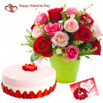 Pink N Red Combo - Vase Of 12 Pink & Red Roses, 1/2 Kg Strawberry Cake & Valentine Greeting Card