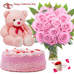 Pink Soft Delight - Vase Of 10 Pink Roses, 1/2 Kg Strawberry Cake, Teddy Bear 6 Inch & Valentine Greeting Card