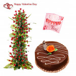 Live A Life - Life Size Arrangement Of 100 Red Roses, 1/2 Kg Chocolate Cake & Valentine Greeting Card