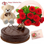 Rose Choco Teddy - Bunch Of 10 Red Roses, 1/2 Kg Chocolate Cake, Teddy Bear 6 Inch & Valentine Greeting Card