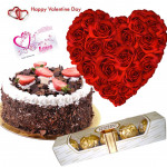 Five Star Heart - 25 Red Roses Heart Shaped Arrangement, Five Star Black Forest Cake 1 Kg, Ferror Rocher 4 Pcs & Valentine Greeting Card