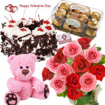 Red N Pink Crunch - Bunch Of 12 Red & Pink Roses, Ferrero Rocher 16 pcs,  1/2 Kg Black Forest Cake, Teddy Bear 6 Inch & Valentine Greeting Card