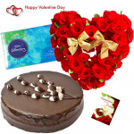 Heart Choco Celebration - Heart Shaped Of 50 Red Roses, 1/2 Kg Chocolate Cake, Cadbury Celebration Box 118 Gms & Valentine Greeting Card