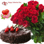 Fifity Roses N Choco - Bunch Of 50 Red Roses , 1/2 Kg Chocolate Cake & Valentine Greeting Card