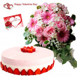 Pink Cake Combo - Bunch Of 10 Pink Flowers, 1/2 Kg Strawberry Cake & Valentine Greeting Card