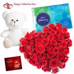 Heart Shape Celebration - Heart Shape Arrangement Of 30 Cut Red Roses, Cadbury Celebration 118 Gms, Teddy Bear (8 Inches) & Valentine Greeting Card