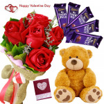 Rose Teddy Choco - Bunch Of 6 Red Roses, Teddy Bear (6 Inches), 5 Dairy Milk 14 Gms & Valentine Greeting Card