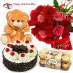 Big Red N Pink Combo - 12 Red & Pink Roses Bunch, 1/2 Kg Black Forest Cake, 16 Pcs Ferrero Rocher Chocolates, Teddy Bear (6 Inches) & Valentine Greeting Card