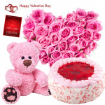 Heart Teddy Cake - 50 Pink Roses Arrange In Heart Shape, Teddy Bear (6 Inches), 1/2 Kg Strawberry Cake & Valentine Greeting Card