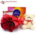 Teddy Rose Celebration - Bunch Of 10 Red Roses, Cadbury Celebrations 118 Gms, Teddy Bear (6 Inches) & Valentine Greeting Card