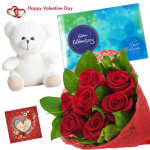 Teddy Rose Celebration - Bunch Of 6 Red Roses, Cadbury Celebrations 118 Gms, Teddy Bear (6 Inches) & Valentine Greeting Card