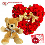 Rose Heart N Teddy - 30 Red Roses Heart Shape Arrangement, Teddy Bear (10 Inches) & Valentine Greeting Card