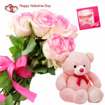 Pink Rose N Teddy - Bunch Of 10 Pink Roses, Teddy Bear (6 Inches) & Valentine Greeting Card