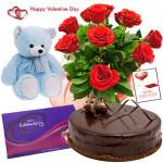 Red Choco Celebration - Bunch Of 12 Red Roses, Teddy Bear (10 Inches), 1/2 Kg Chocolate Cake, Cadbury Celebration 118 Gm & Valentine Greeting Card