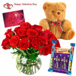 Mix Vase Assortment - 12 Mix Roses In Vase, Teddy Bear (6 Inches), 5 Assorted Bars & Valentine Greeting Card