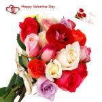 Valentine Mix - 15 Mix Roses Bunch & Valentine Greeting Card