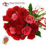 Red N Pink Love - 24 Red & Pink Roses Bunch & Valentine Greeting Card