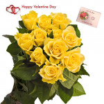 Yellow Roses - 18 Yellow Roses Bunch & Valentine Greeting Card