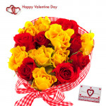 Red N Yellow Bunch - 20 Red & Yellow Roses Bunch & Valentine Greeting Card