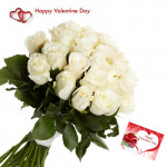 White Love - 15 White Roses Bunch & Valentine Greeting Card